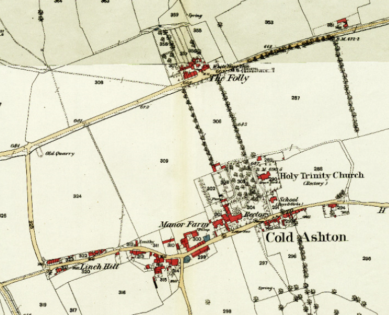 Circa 1880 Ordnance Survey map Cold Ashton