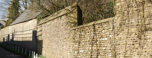 photo showing stone walls on the main street