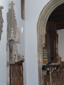 photo showing Pulpit set on the north wall of the church