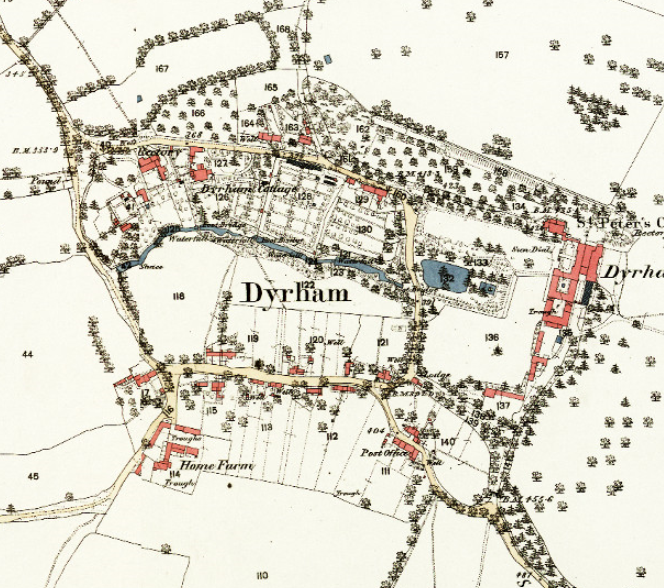 Circa 1880 Ordnance Survey map Dyrham