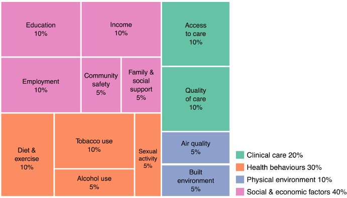estimates of the relative contributions of The determinants of health