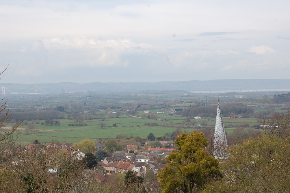 Figure 7: View looking north from Over Lane, St Mary's church and beyond