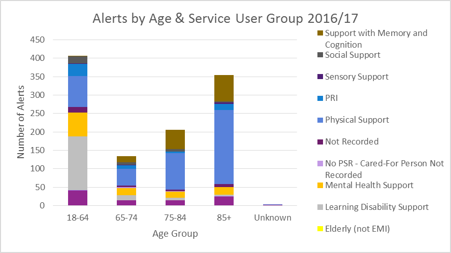 Alerts by age and service user group