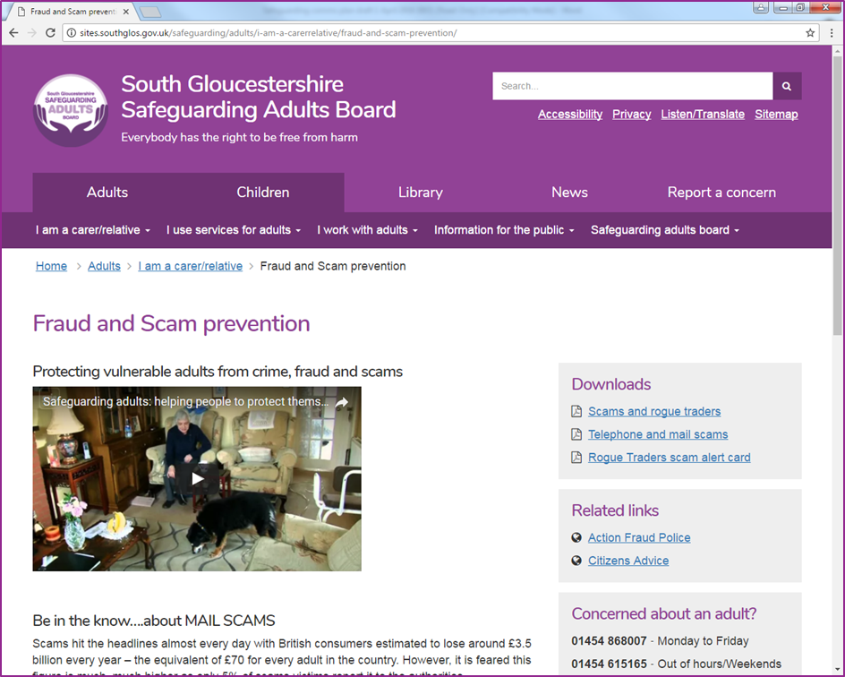 Fraud and scam prevention webpage