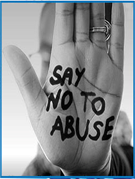 A hand with Say no to abuse written on it