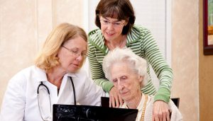 An older woman, her daughter and a GP