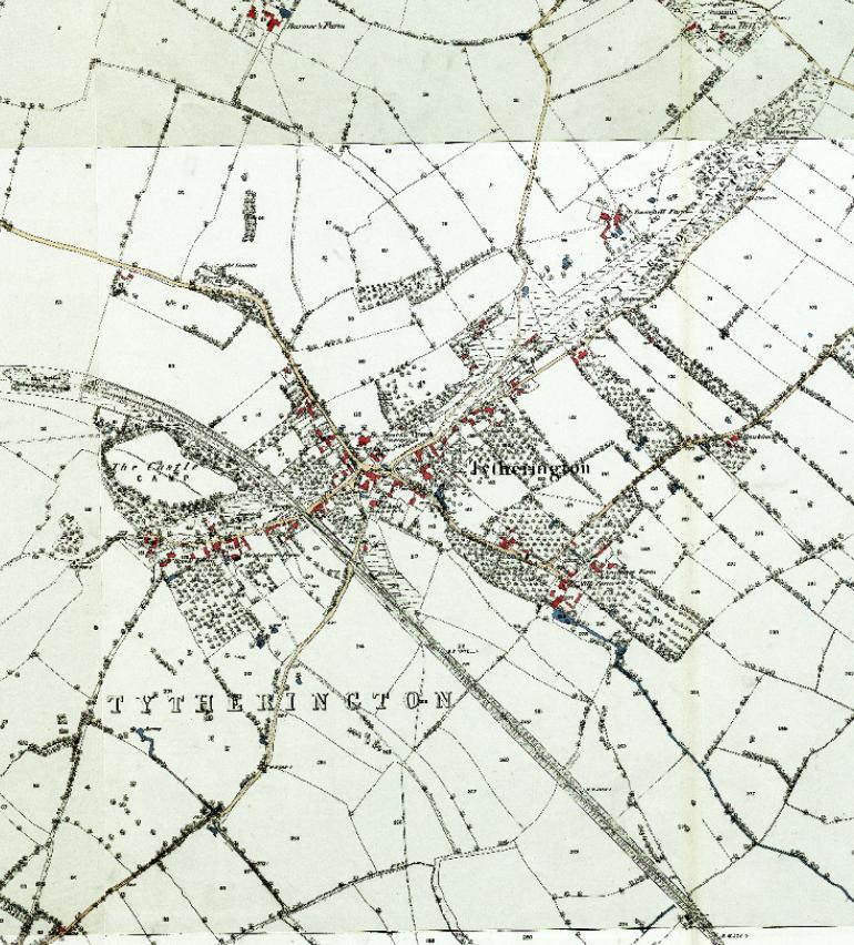 Circa 1880 Ordnance Survey map Tytherington